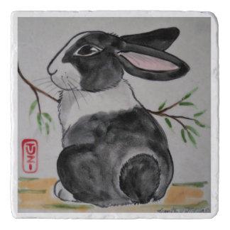 Dutch Rabbit Marble Stone Trivet Oriental Style