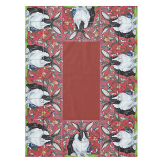 Dutch Rabbit Red Tiled Floral Holiday Tablecloth