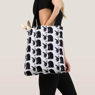 Dutch Rabbits Black and White Print Tote Bag