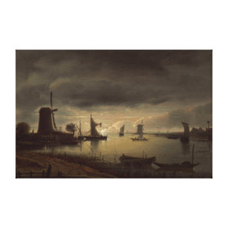 Dutch River Scene with Windmill by van Borssom Canvas Print