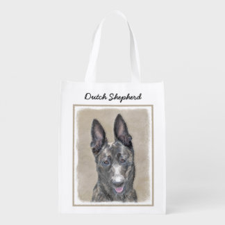 Dutch Shepherd Painting - Cute Original Dog Art Reusable Grocery Bag