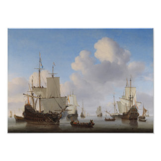 Dutch Ships In A Calm - Maritime Painting Poster