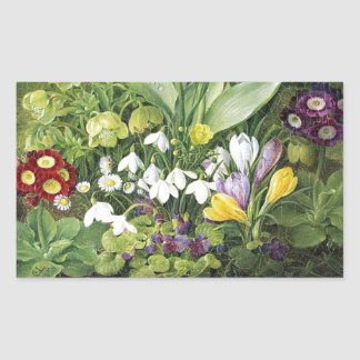 Dutch Spring Flowers Rectangular Sticker