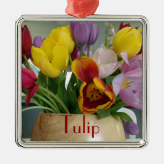 Dutch Tulips Bouquet Silver-Colored Square Decoration