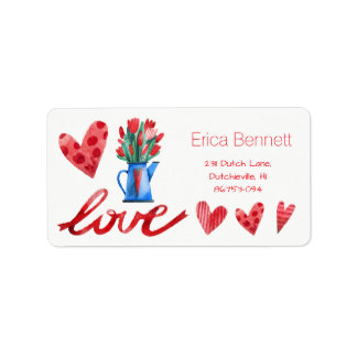 Dutch Tulips Flowers Red Hearts Love Address Label