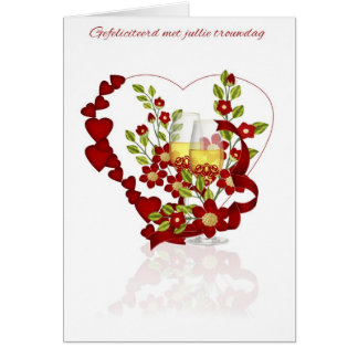 Dutch Wedding Anniversary With Champagne Flowers Card