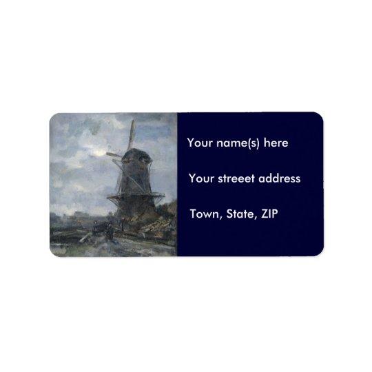 Dutch windmill in moonlight Maris Address Label