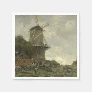Dutch windmill, Jacob Maris Paper Napkins