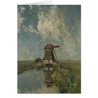 Dutch windmill on polder waterway Paul Gabriël Card