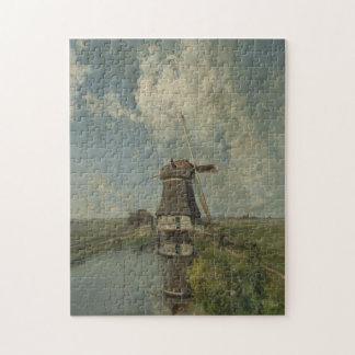 Dutch windmill on polder waterway Paul Gabriël Jigsaw Puzzle