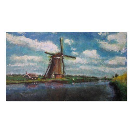 Dutch Windmill Painting Small Photo Card Business Cards