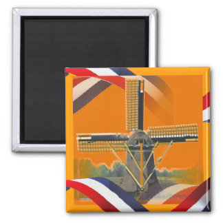 Dutch Windmill Red White Blue Orange Fridge Magnet