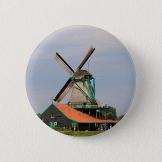 Dutch windmill village, Holland 3 6 Cm Round Badge
