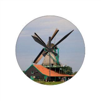 Dutch windmill village, Holland 3 Round Clock