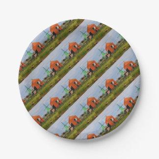 Dutch windmill village, Holland 4 Paper Plate