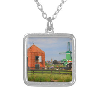 Dutch windmill village, Holland 4 Silver Plated Necklace