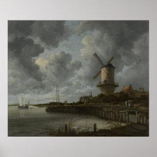 Dutch windmill Wijk bij Duustede, Ruisdael Poster