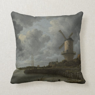Dutch windmill Wijk bij Duustede, Ruisdael Throw Pillow