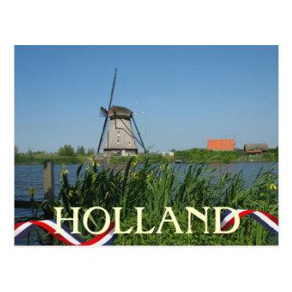 Dutch Windmill Yellow Flowers Postcard