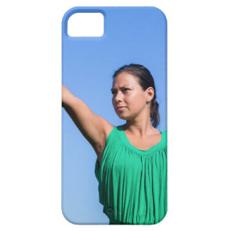 Dutch woman throwing boomerang in blue sky case for the iPhone 5