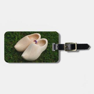 Dutch wooden clogs luggage tag