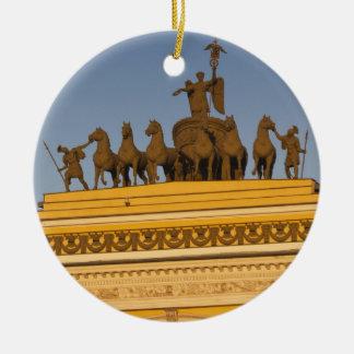 Dvortsovaya Square, Triumphal Arch, sunset Round Ceramic Decoration
