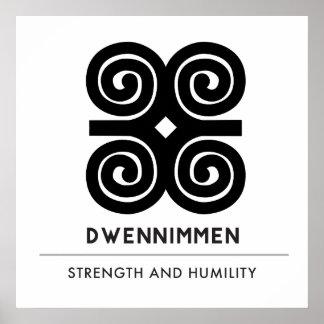 Dwennimmen Strength|Humility White Adinkra Symbol Poster