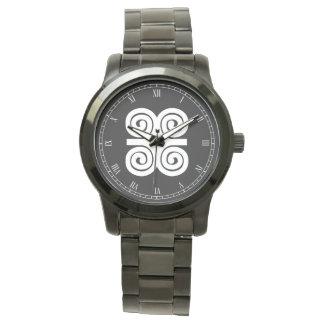 Dwennimmen Strength|Humility White Adinkra Symbol Wristwatch