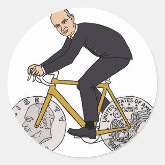 Dwight Eisenhower On Bike With Dollar Coin Wheels Classic Round Sticker