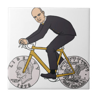 Dwight Eisenhower On Bike With Dollar Coin Wheels Small Square Tile