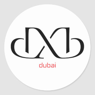 dxb - dubai classic round sticker