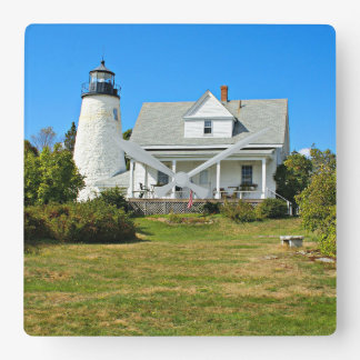 Dyce Head Lighthouse, Maine Square Wall Clock