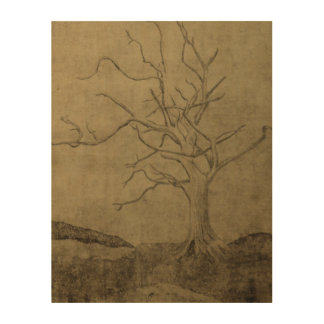 Dying Tree on Wood Print