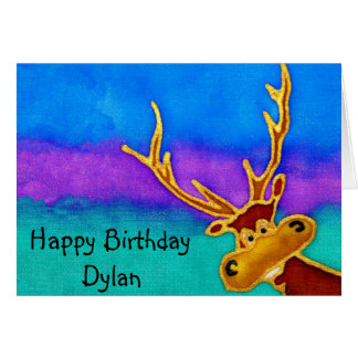 Dylan, Happy Birthday silly stag card