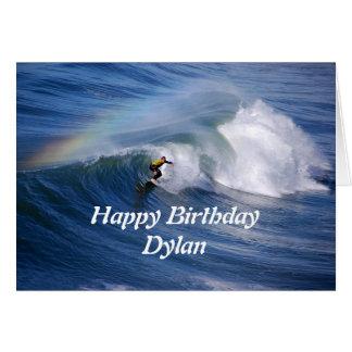 Dylan Happy Birthday Surfer With Rainbow Card