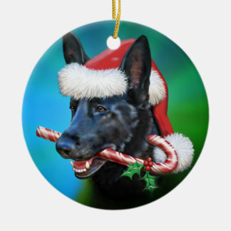 Dylan, The Black German Shepherd Ceramic Ornament