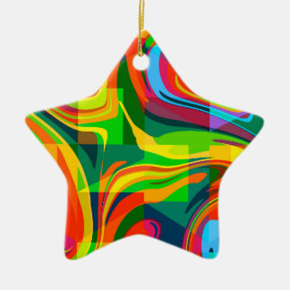Dynamic abstract ceramic star decoration