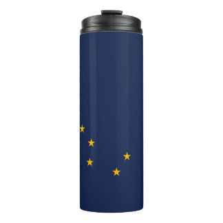 Dynamic Alaska State Flag Graphic on a Thermal Tumbler