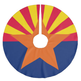 Dynamic Arizona State Flag Graphic on a Brushed Polyester Tree Skirt