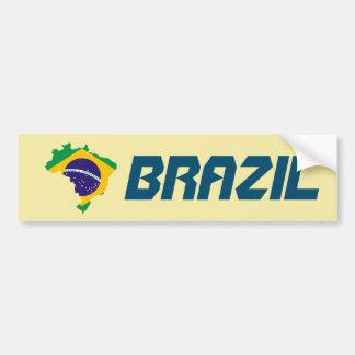 Dynamic Brazil Flag Map Sticker Bumper Sticker