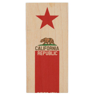Dynamic California State Flag Graphic on a Wood USB Flash Drive