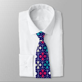 Dynamic circle and petals navy pattern tie