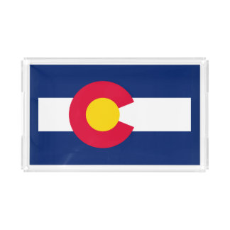 Dynamic Colorado State Flag Graphic on a Acrylic Tray