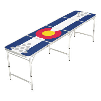 Dynamic Colorado State Flag Graphic on a Beer Pong Table