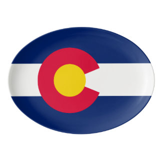 Dynamic Colorado State Flag Graphic on a Porcelain Serving Platter