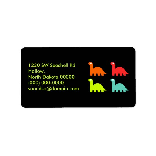 Dynamic Dinos Address Label Yellow