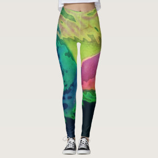 Dynamic Green Abstract - Leggings