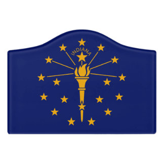 Dynamic Indiana State Flag Graphic on a Door Sign
