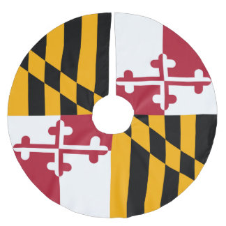 Dynamic Maryland State Flag Graphic on a Brushed Polyester Tree Skirt