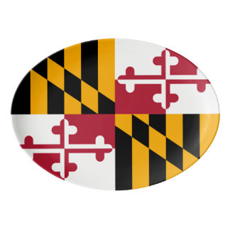 Dynamic Maryland State Flag Graphic on a Porcelain Serving Platter